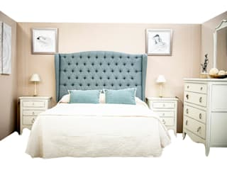 MAD ELEGANCE 臥室床與床頭櫃 布織品 Green