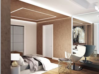 Interior Design Stefano Bergami Modern style bedroom Amber/Gold