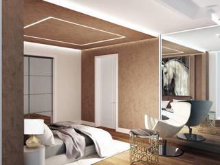 lavori in corso Interior Design Stefano Bergami Camera da letto moderna Ambra/Oro