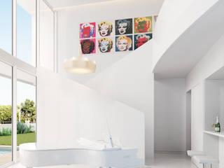 MA.TERIA. ARCHITECTURE SOLUTIONS Livings de estilo minimalista Concreto Blanco