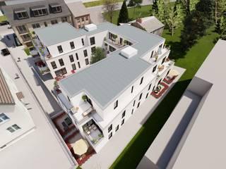 Außenvisualisierung von Bauvorhaben in Aachen ESwin Architektur Mehrfamilienhaus Beton Weiß