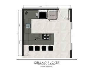 Cozinha com Península por Della&Pucker - Eng. Civil e Arquitetura