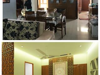 Saniya Nahar Designs Ruang Makan Modern Parket Brown