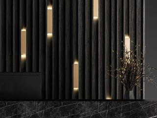 Home Office Deev Design Minimalistische studeerkamer Marmer Zwart