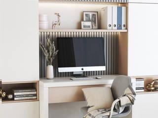Home Office Deev Design Minimalistische studeerkamer Koper / Brons / Messing Beige