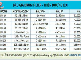 Drum Filter – Loc trong ho ca koi (Loc thung) Cap nhat gia 2021 CÔNG TY TNHH TM DV THIÊN DƯƠNG KOI