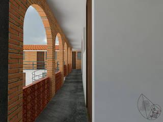 Arquitectura Tiempo & Espacio Pasillos, vestíbulos y escaleras coloniales Ladrillos Blanco
