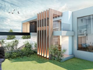 G._ALARQ + TAGA Arquitectos Detached home Marble Wood effect