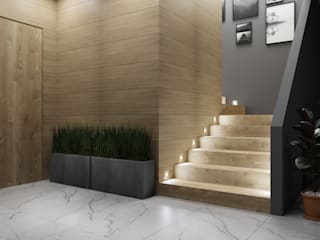 Domni.pl - Portal & Sklep Modern Corridor, Hallway and Staircase Ceramic Brown