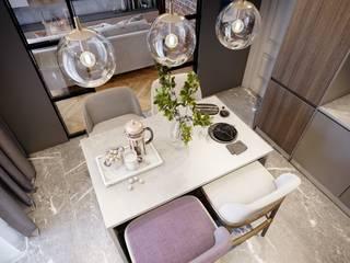 Небольшая квартира с элементами лофта. 'PRimeART' Маленькие кухни Изделия из древесины Серый
