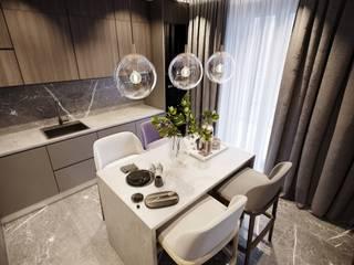 Небольшая квартира с элементами лофта. 'PRimeART' Маленькие кухни Мрамор Коричневый