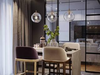 Небольшая квартира с элементами лофта. 'PRimeART' Встроенные кухни Железо / Сталь Коричневый
