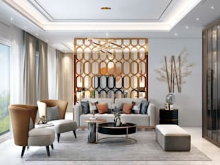Modern Theme based home in Ghaziabad HC Designs Living roomAccessories & decoration Wood Grey