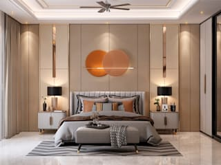 Modern Theme based home in Ghaziabad HC Designs Small bedroom Wood Amber/Gold