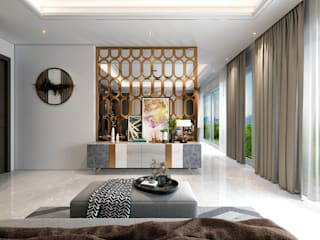Modern Theme based home in Ghaziabad HC Designs Modern Living Room Wood White