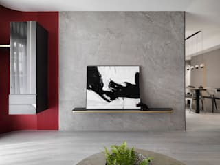 知域設計 Scandinavian style living room Red