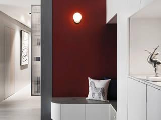 知域設計 Scandinavian style corridor, hallway& stairs Red