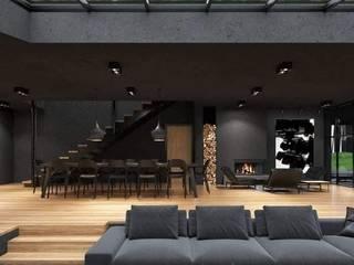 كاسل للإستشارات الهندسية وأعمال الديكور والتشطيبات العامة Salas de estilo moderno Madera Negro