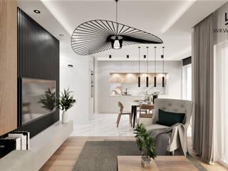 Wkwadrat Architekt Wnętrz Toruń Living room Wood Beige
