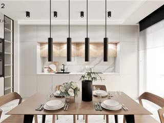 Wkwadrat Architekt Wnętrz Toruń Modern dining room Wood Beige