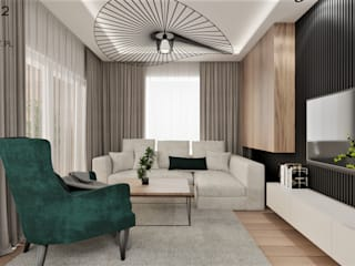 Wkwadrat Architekt Wnętrz Toruń Industrial style living room Solid Wood Wood effect