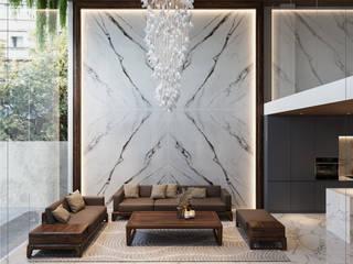 Singapore Carpentry Interior Design Pte Ltd 客廳 大理石 White