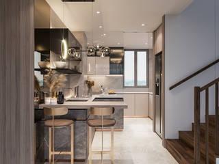 Singapore Carpentry Interior Design Pte Ltd 現代廚房設計點子、靈感&圖片 木頭 Grey