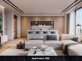 Apartment 452 Deev Design Moderne woonkamers Hout Wit