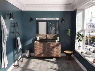 Stanza da bagno con grande vetrata e vista sulla città Bagno minimalista di Alessandro Chessa Minimalista