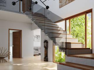 AOG Ingresso, Corridoio & Scale in stile mediterraneo Laterizio Bianco