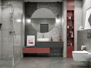 Szara nowoczesna łazienka w kolekcji Paradyż Marvelstone Nowoczesna łazienka od Domni.pl - Portal & Sklep Nowoczesny