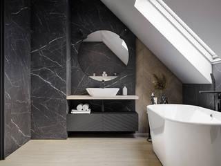Jasne drewno i ciemny kamień w łazience Nowoczesna łazienka od Domni.pl - Portal & Sklep Nowoczesny