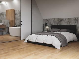 Sypialnia z łazienką w drewnie i kamieniu Nowoczesna sypialnia od Domni.pl - Portal & Sklep Nowoczesny