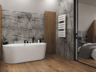 Sypialnia z łazienką w drewnie i kamieniu Nowoczesna łazienka od Domni.pl - Portal & Sklep Nowoczesny