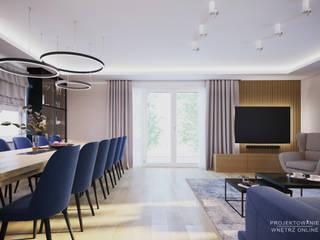 Duży salon projekt Projektowanie Wnętrz Online Klasyczny salon