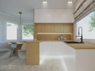 Kuchnia w drewnie i bieli Projektowanie Wnętrz Online Skandynawska kuchnia