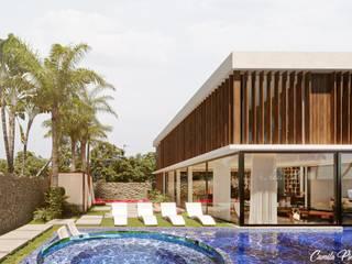 Camila Pimenta | Arquitetura + Interiores Kolam renang halaman Ubin Blue