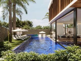 Camila Pimenta | Arquitetura + Interiores Piscinas de jardín Azulejos Azul