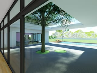 DYOV STUDIO Arquitectura. Concepto Passivhaus Mediterráneo. 653773806 Mediterranean style balcony, veranda & terrace Limestone White