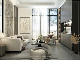 Singapore Carpentry Interior Design Pte Ltd 现代客厅設計點子、靈感 & 圖片 木頭 White