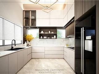 Singapore Carpentry Interior Design Pte Ltd 現代廚房設計點子、靈感&圖片 石器 White