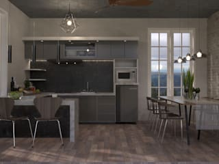 Kitchen Set Modern Minimalis DNAWorked KitchenCabinets & shelves Kayu Buatan Grey