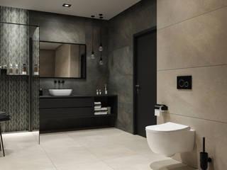 Brąz w przestronnej łazience Nowoczesna łazienka od Domni.pl - Portal & Sklep Nowoczesny