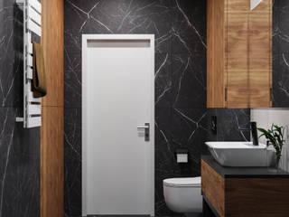 Czarny kamień w małej łazience Nowoczesna łazienka od Domni.pl - Portal & Sklep Nowoczesny