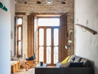 osb arquitectos Rustic style living room Wood effect