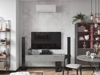 Воображение с этническими мотивами. Студия NATALYA SOLNTSEVA Interiors Design Гостиные в эклектичном стиле Бетон Серый