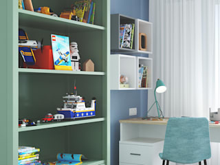 Красочный и спокойный. Проект интерьера детской комнаты. Студия NATALYA SOLNTSEVA Interiors Design Спальни для мальчиков МДФ Бирюзовый