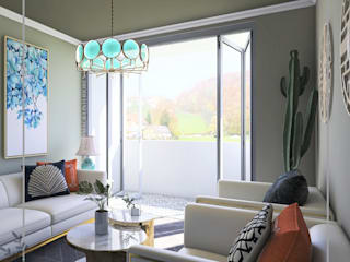 Anny Maciel Interiores - Casa Cor de Riso Mediterranean style living room Multicolored