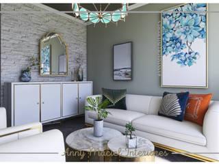 Living Inspiração Marrocos Anny Maciel Interiores - Casa Cor de Riso Salas de estar mediterrâneas Madeira Ambar/dourado