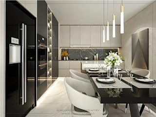 Singapore Carpentry Interior Design Pte Ltd 現代廚房設計點子、靈感&圖片 玻璃 Black